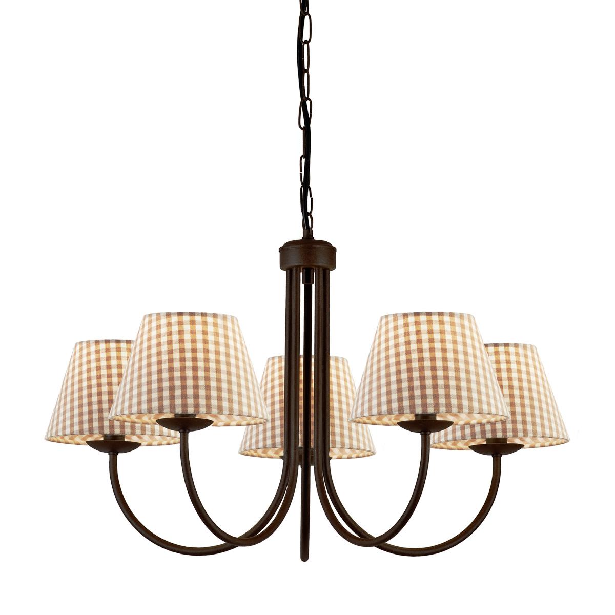 Φωτιστικό καφέ πατίνα με καφέ καρό καπέλα BIANCO-2 brown patinated chandelier with brown plaided shades