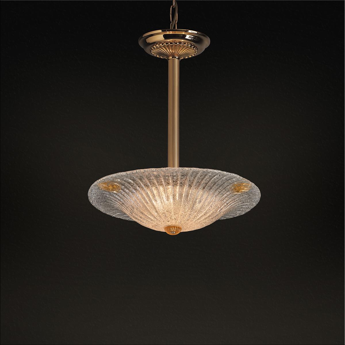 Κλασικό μονόφωτο με κρύσταλλο Μουράνο ΦΥΛΛΟ classic Murano crystal suspension lamp