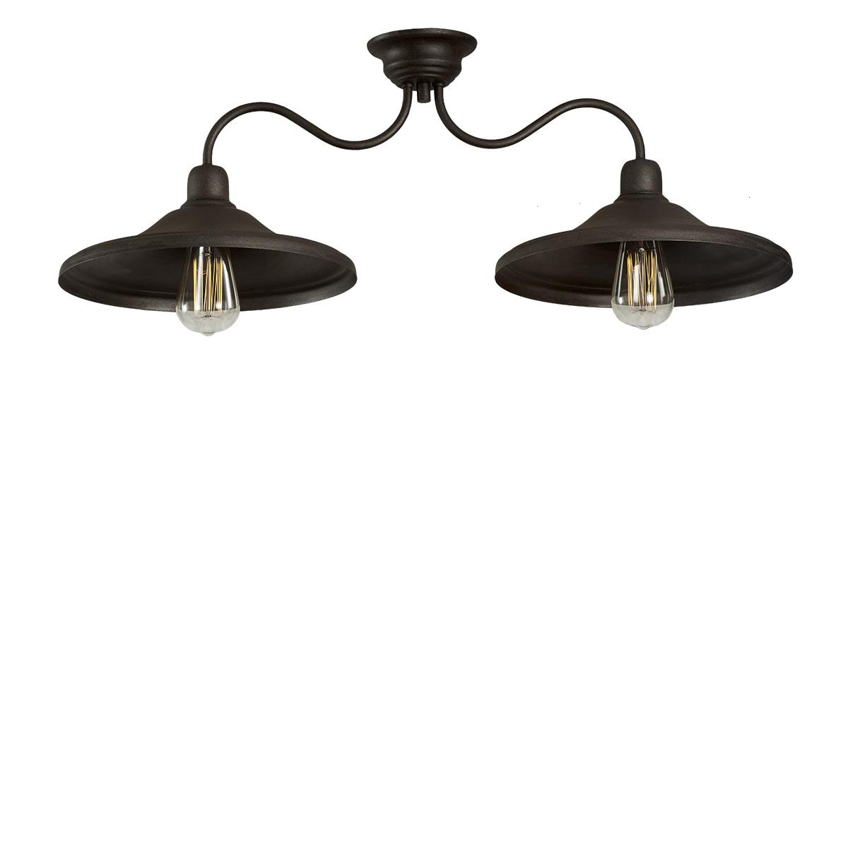 Παραδοσιακό φωτιστικό οροφής σε πατίνα γραφίτη ΙΟΣ graphite patinated handmade rustic ceiling lamp