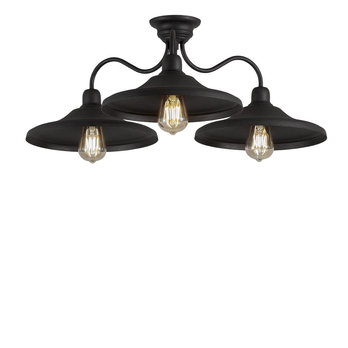 Φωτιστικό οροφής σε πατίνα γραφίτη ΙΟΣ graphite patinated ceiling lamp