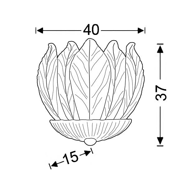 Απλίκα με κρυστάλλινα φύλλα Μουράνο | ΗΛΙΟΣ - Σχέδιο - Απλίκα με κρυστάλλινα φύλλα Μουράνο | ΗΛΙΟΣ