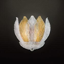 Απλίκα με κρυστάλλινα φύλλα Μουράνο ΗΛΙΟΣ wall lamp with Murano crystal leaves