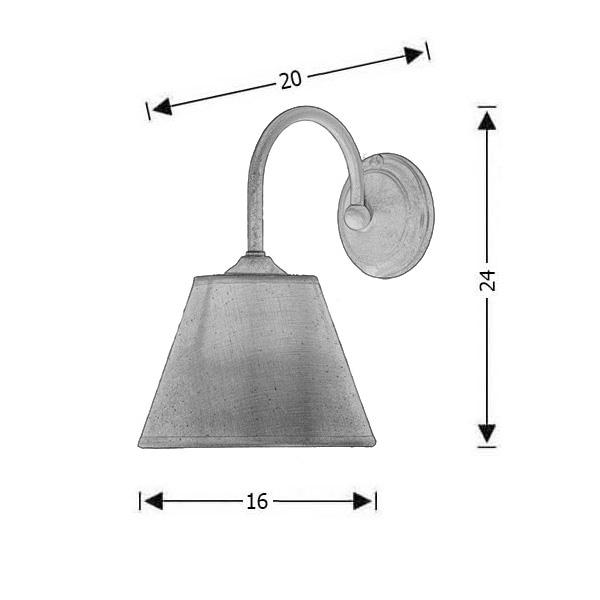Rusty wall lamp with lamp shade | NAXOS-2 - Drawing - Rusty wall lamp with lamp shade | NAXOS-2
